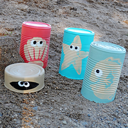 Sea Creature Sand Castle Cans - featured on FunFamilyCrafts.com