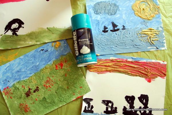Shaving Cream Impressionism Paintings Fun Family Crafts