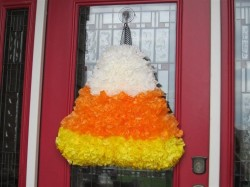 Candy Corn Coffee Filter Wreath