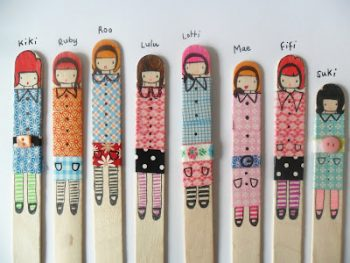 Washi Tape Stick Puppets