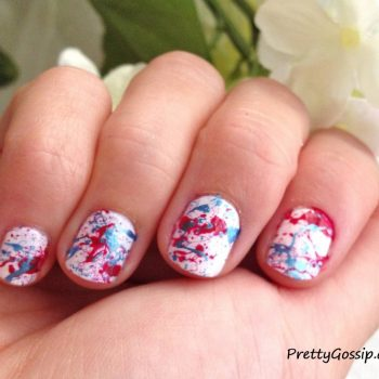Patriotic Splatter Paint Nails