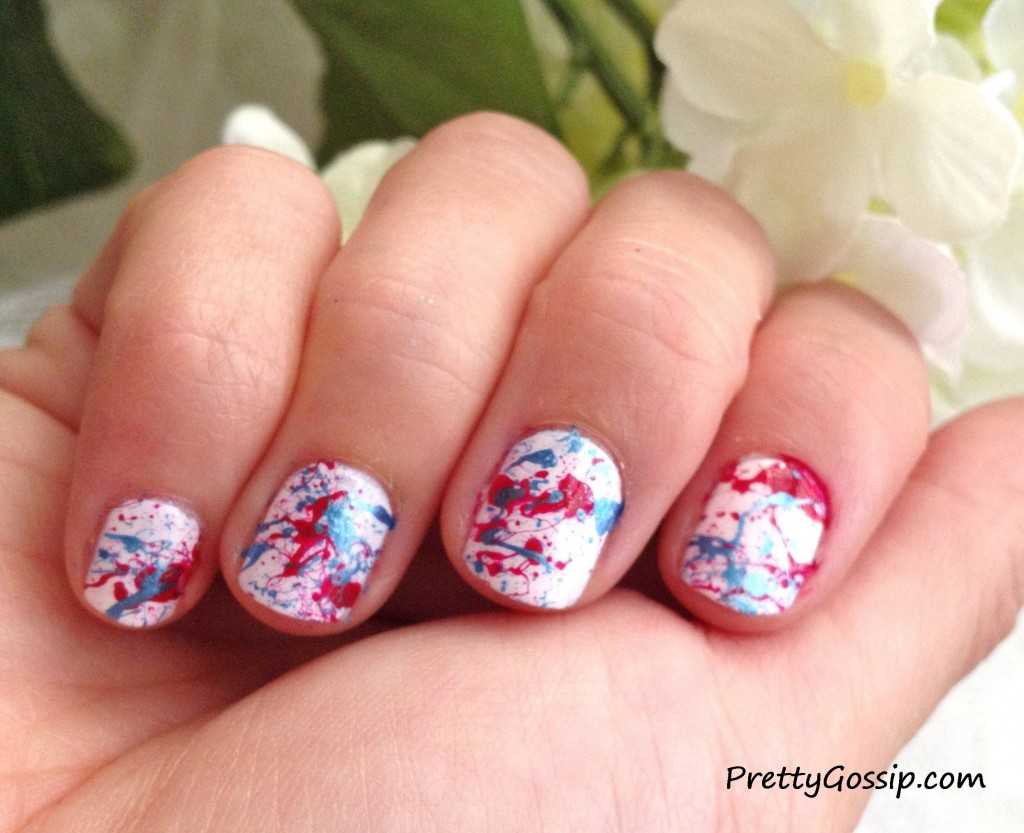 Patriotic Splatter Paint Nails