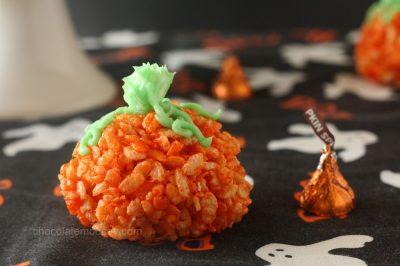 Candy Filled Rice Krispy Treat Pumpkins