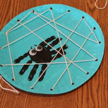 Handprint Spider in a Lacing Card Web