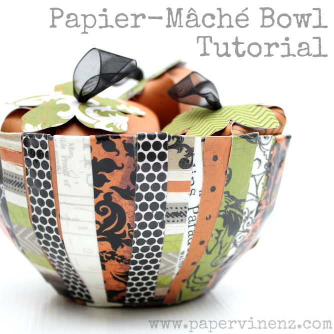 Scrapbook Paper Bowl of Pumpkins