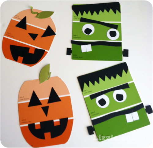 Halloween Crafts And Decorations: Paint Chip Halloween Craft