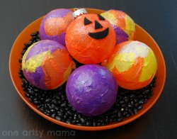 Decoupaged Halloween Centerpiece Ornies