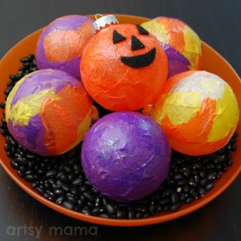 Decoupaged Halloween Centerpiece Ornies