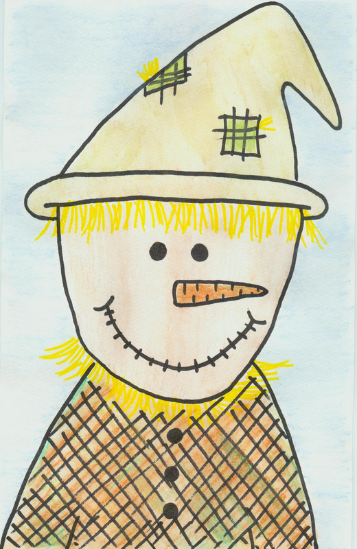 Watercolor Pencil Scarecrow