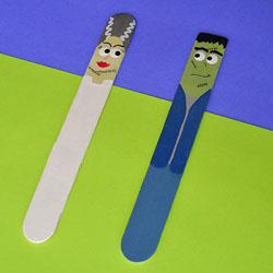 Frankenstein and Bride from Craft Sticks