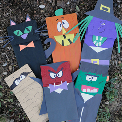 Paper Bag Puppets for Halloween
