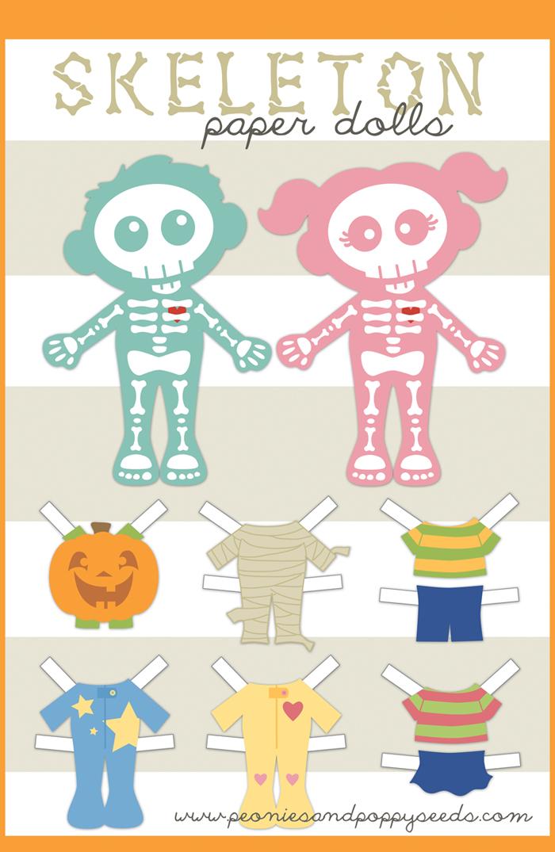 Skeleton Paper Dolls Fun Family Crafts