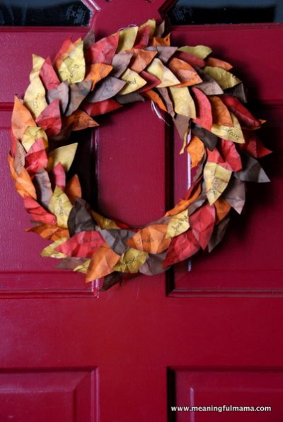Thanksgiving Wreath With Paper Leaves Fun Family Crafts
