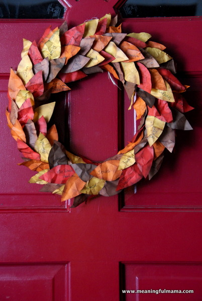 Thanksgiving Wreath with Paper Leaves