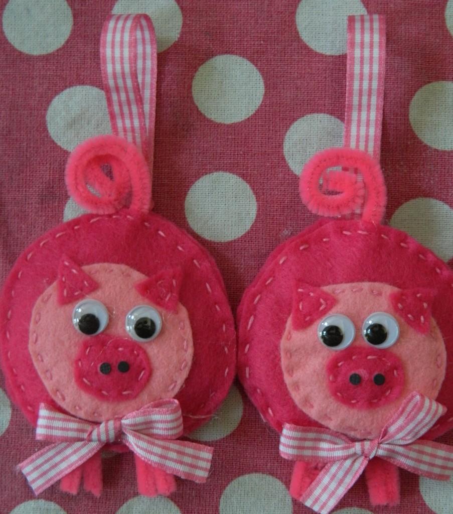 Pink Pig Ornaments