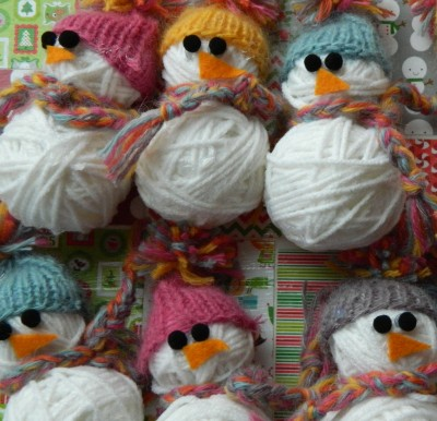 Yarn Ball Snowman Ornament