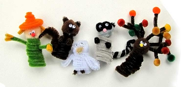 Fall Pipe Cleaner Finger Puppets