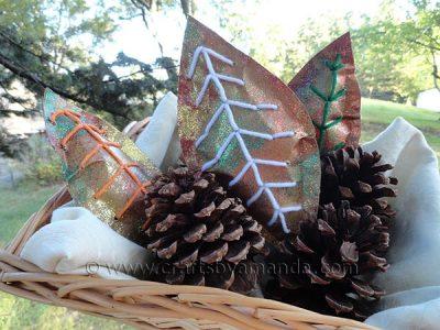 Glittery Paper Leaves