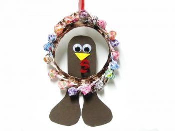 Lollipop Turkey Wreath for Thanksgiving
