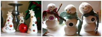 Clay Snowmen and Christmas Trees