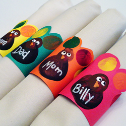 Turkey Napkin Rings from Fingerprints