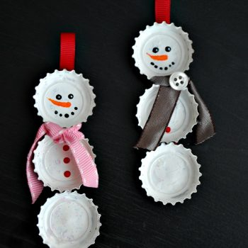 Bottlecap Snowman Ornament