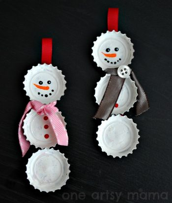 Bottlecap Snowman Ornament
