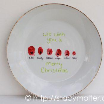 Christmas Carolers Thumbprint Plate