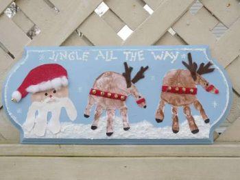 Santa's Reindeer Handprint Plaque