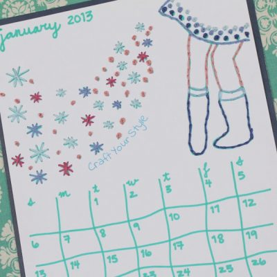 Stitched Printable Calendar