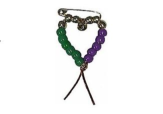 Mardi Gras Heart Pin