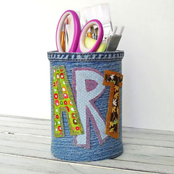Denim Covered Pencil Can