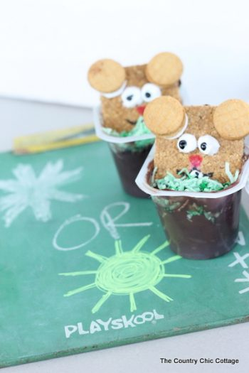Groundhog Pudding Cup Snack