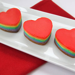 Mini Rainbow Cheesecake Hearts