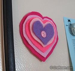Layered Felt Heart Magnet