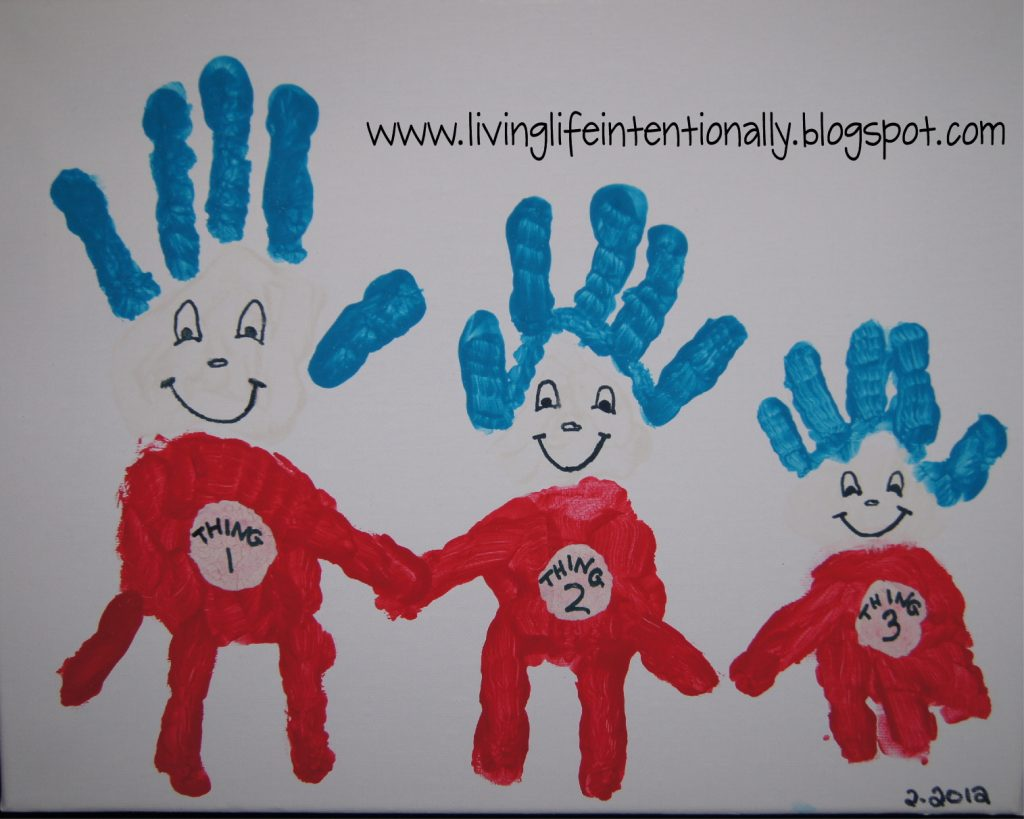Thing 1, 2, 3 Handprint Art