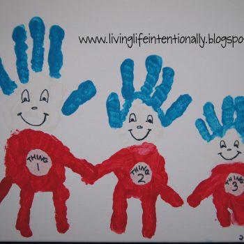 Thing 1, 2, 3 Handprint Art