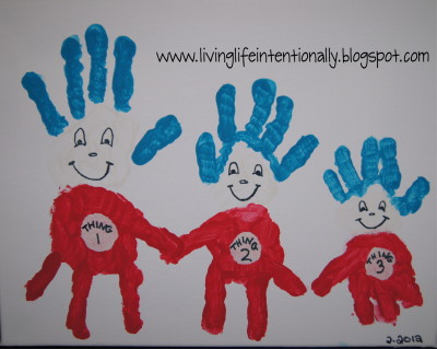 Thing 1 2 3 handprint art fun family crafts for Family arts and crafts