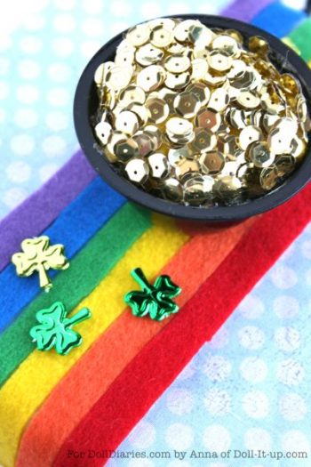 Doll Sized Pot of Gold and Rainbow Table Runner