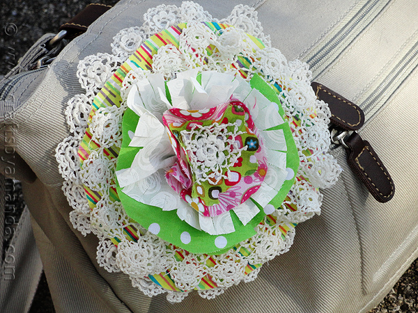 Doily Amp Fabric Flower Pin Fun Family Crafts