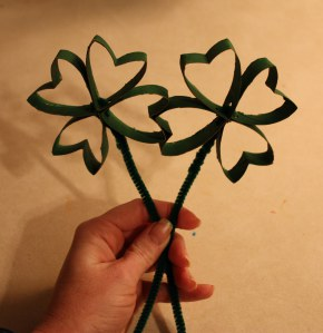 Paper Roll Shamrocks