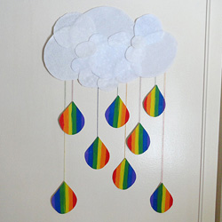 Cloud and Rainbow Raindrops