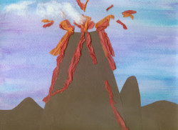 Mixed Media Volcano craft