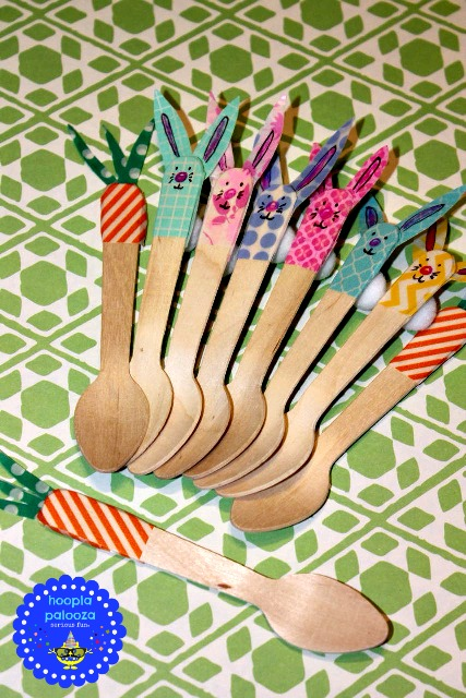 Washi Tape Bunny and Carrot Spoons | Fun Family Crafts
