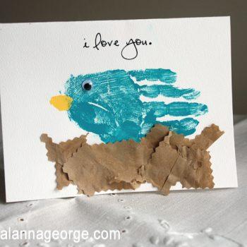 Handprint Bird Card