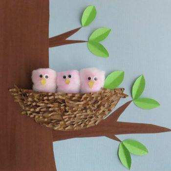 Paper Plate Nest of Birds
