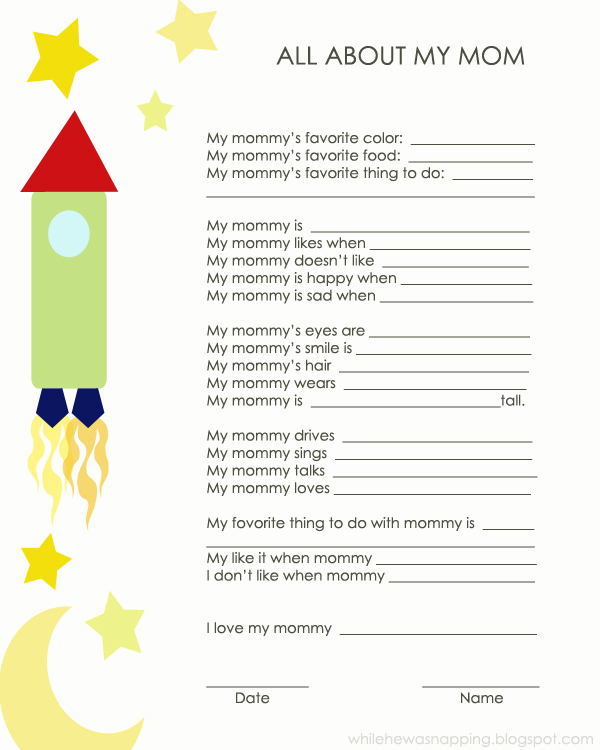 All About My Mom Printable Fun Family Crafts