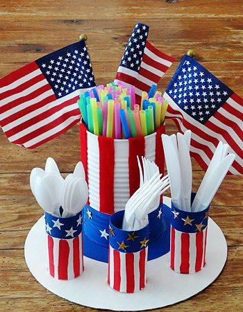 Recycled Patriotic Utensil Holder