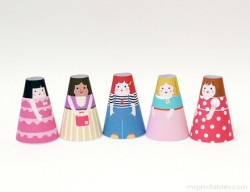 Printable Paper Cone Girls