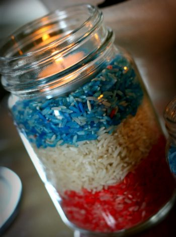 Red, Rice and Blue Candle
